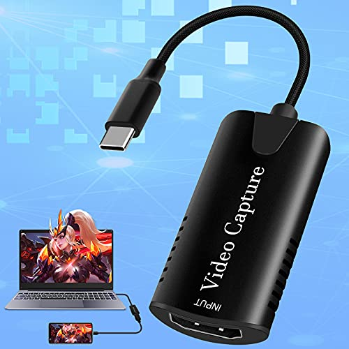 Adhope Carte de capture vidéo HDMI USB 3.0 4 K 60 fps vers USB C Adaptateur Type C 1080P Gaming Capture Card Audio Card pour enseignement de jeu, diffusion en direct en streaming, conférences vidéo