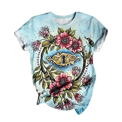 Blusa Para Mujer Moda 3d Impreso Camiseta Suelta Verano Casual Tops 2020 Nueva Camiseta De Cuello Redondo Túnica