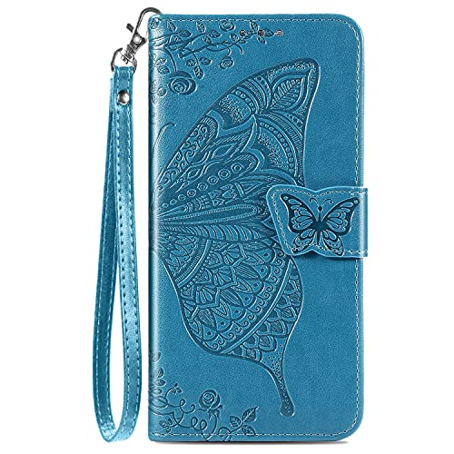 DiGPlus Galaxy A21 Wallet Case, [Butterfly & Flower Embossed] PU Leather Wallet Case Flip Protective Phone Cover with Card Slots and Kickstand for Samsung Galaxy A21 2020 Released (Blue)