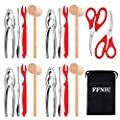 18 Pcs Seafood Tools Set including 8 Forks 4 Lobster Crackers Nut Cracker and 4 Lobster Crab Mallets 2 Seafood Scissors from FFNIU