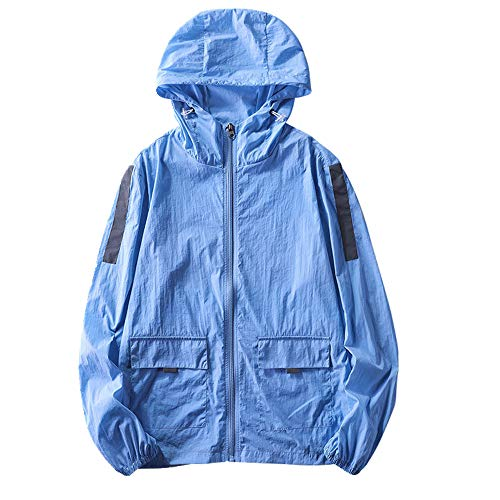 U/A Outdoor-Kleidung, Sonnenschutz, leicht, reflektierend, gestreift, Freizeitkleidung für Herren Gr. XXXX-Large, blau
