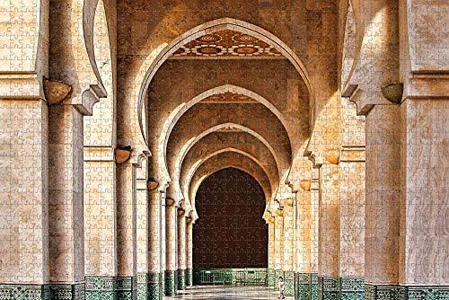 Rompecabezas para Adultos Marruecos Mezquita Galería Rompecabezas 1000 Piezas Recuerdo de Viaje de Madera