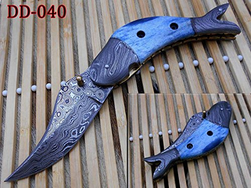 Fish Shape Folding Knife, Hand Forged Damascus Steel Pocket Knife, Blue Colored Camel Bone Scale with Damascus Bolster, Cow Hide Leather Sheath Included