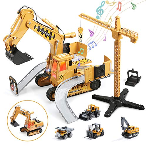 CUTE STONE Kids Construction Toys Set, Big Toy Excavator and Crane with Engineering Vehicle Playsets, Mini Forklift, Dump Truck, Digger, Bulldozer, Gift for Toddler Boy Girl Age 2 3 4 5 6 7 Year Old