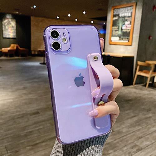 Funda de telefonía de la Correa de la muñeca Transparente de la Fluorescencia para el iPhone 11 Pro MAX X XR XS 7 8 6 6S Plus SE 2020 CASA DE Padres DE LA Manta