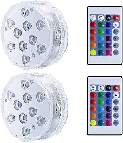 2 Pièces Lumières de Baignoire, 10LED Lampe de Piscine Les Lmières Sous-marines Imperméables de Piscine de Lumières de LED avec des Lumières Colorées à Distance D'aquarium