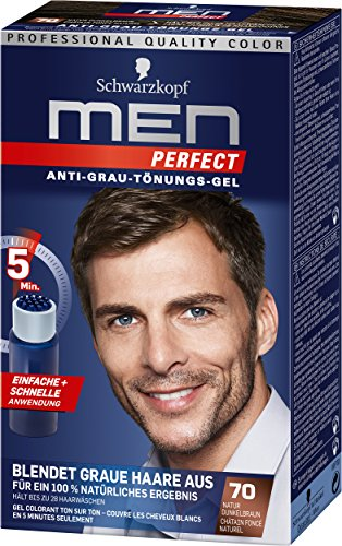 Schwarzkopf Men Perfect Lot de 3 flacons de gel de teinture anti cheveux gris, 70 châtain foncé naturel 40 ml