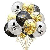 Emorias 1 juego de globos de combinación de graduación para fiesta de graduación, máscaras, actividades de carnaval, decoración, accesorios de metal, cada uno de 12 pulgadas Black+Gold+Grey