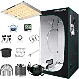 MARS HYDRO Grow Tent Kit Complete 4x4ft TSW 2000W Led Grow Light Dimmable Full Spectrum,Indoor Grow Tent Kit 48'x48'x80' Hydroponics Growing Tent 1680D Canvas with 6 Inch Ventilation System