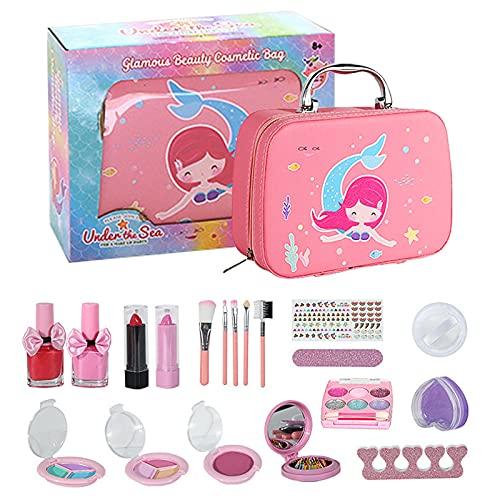 MJARTORIA Juego de maquillaje para niños, lavable, para niñas, set de maquillaje con bolsa de cosméticos para juegos de rol, más de 4 años, set de maquillaje para cumpleaños