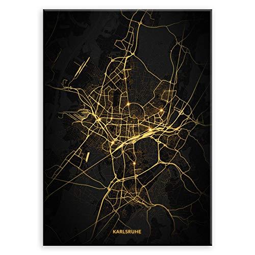 Murrano Poster - Städte - zur Selbstmontage mithilfe eines Magnets montiert - aus Metall - City Lights - Karlsruhe - 45 x 32 cm