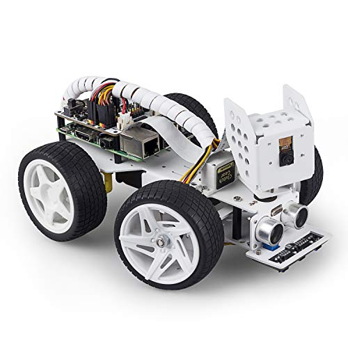 SunFounder Raspberry Pi Smart Video Robot Car Kit for Raspberry Pi, Supports Ezblock/Python Code Control and Web Control. Multifunctional Electronic DIY Raspberry Pi Robot Kits for Teens and Adults.
