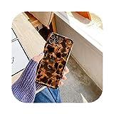 Coque pour Iphone 12,Coque Brillant Imprimé Léopard Ambre Rétro pour Iphone 12 Mini 11 Pro Max 7...