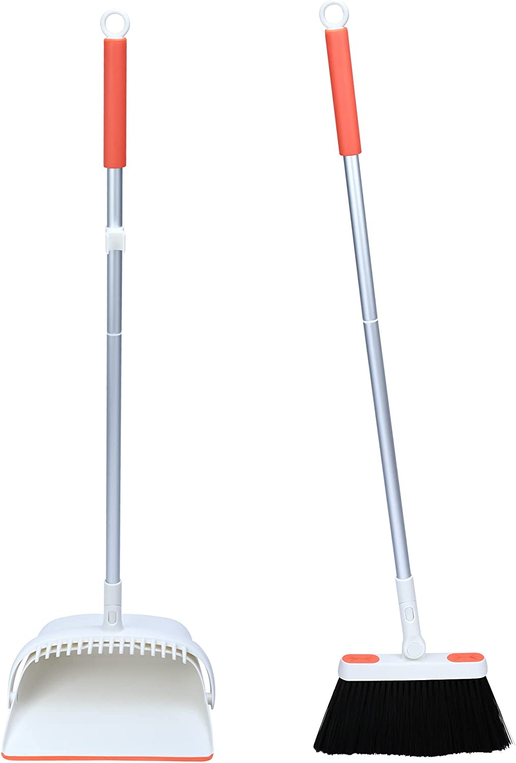 Broom and Dustpan Set with Built-in Comb, 2021 Upgraded Design, Added Mopping Cloth Feature, Lightweight and Durable with Adjustable Handle Length and Rotatable Head, for Home Kitchen Office Garage