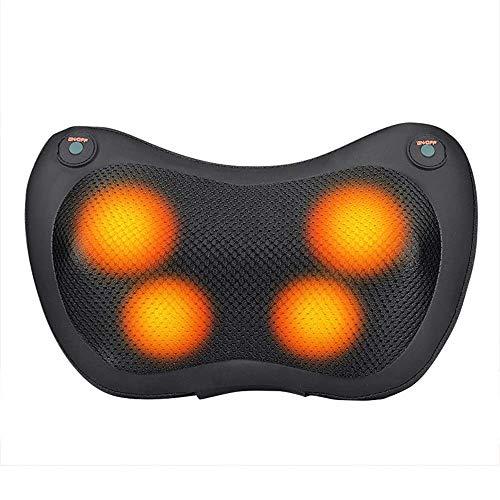 LONGJUAN-C Electric Volver Shiatsu Massager del cuello - recargable Amasado almohada de masaje con calor for hombros, espalda baja, Ternero, Piernas, Pies - uso en el hogar, oficina y coche masajeador