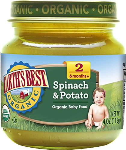 Earth's Best Organic Stage 2 Baby Food, Spinach and Potato, 4 oz. Jar (Pack of 12)