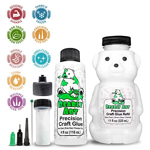 Bearly Art Precision Craft Glue Bundle - 4fl oz and 11fl oz Refill Bear - Multiple Sizes Tip Kit - Non-Toxic - Wrinkle Resistant - Flexible and Crack Resistant - Strong Hold Adhesive - Made in USA
