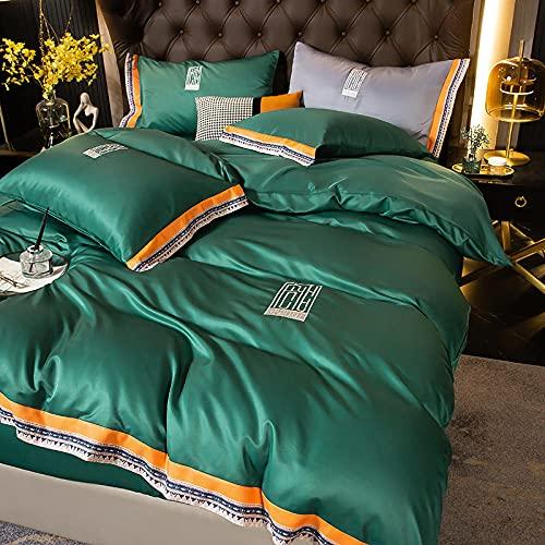 juegos de sábanas de 90,XIA Siki Down traje cuatro set, seda nórdica seda de seda cama doble cama individual almohada de cama, amigos colegas hombres, dia de la madre regalo-K_Cama de 2.0m (4 piezas)