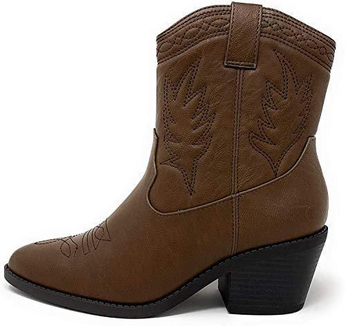 Soda Picotee Women Western Cowboy Cowgirl Stitched Ankle Boots (DK TAN PU, numeric_8_point_5)