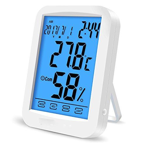 1stモール タッチ式 ポップスター 温湿度計 高輝度 LED バックライト 卓上 マルチ 温度計 湿度計 時計 目覚まし アラーム カレンダー 大画面 スタンド 壁掛け兼用 POPSTAR ST-POPSTAR