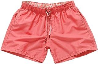 Aiweijia Men's Quick Dry Swim Trunks Surf Pants Elastic Waist Solid Color Board Shorts