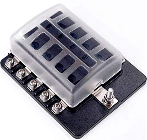 DCFlat 6/8/10/12-Way Fuse Block–ATC/ATO Fuse Box With Ground, LED Light Indication & Protection Cover, Bolt Connect Terminals, Stick Label, For Car Boat Marine Aut (6/8 / 10/12 -Way Fuse, 10-Way)