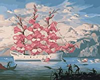 大人用クロスステッチキット刺繡スターターキット-フラワーボート-DIYクロスステッチ針仕事-クリスマスウォールアート家の装飾クロスステッチ-40x50cm(11CTプレプリントキャンバス)