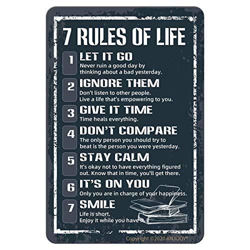 Letreros de metal de estaño – 7 reglas de vida – Cartel de plaga para cafetería Home Farm Supermarket Bar Pub Garaje Hotel Diner Mall Puerta Jardín Decoración de pared Arte