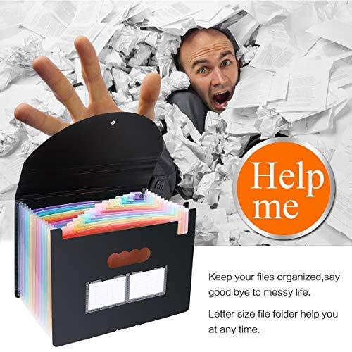 Accordian File Organizer,12 Pockets Expanding File Folder with Expandable Cover, Portable Filing Box Desktop Accordion Plastic Folders, Colored Paper/Document/Coupon/Receipt Organizer(A4/Letter Size) Photo #7