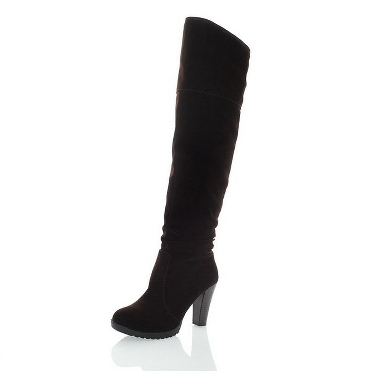 しない開発する記者BalaMasa 女性 ファッションチェックのハイヒール コンフォート ヌバック ブーツ?ブーティ
