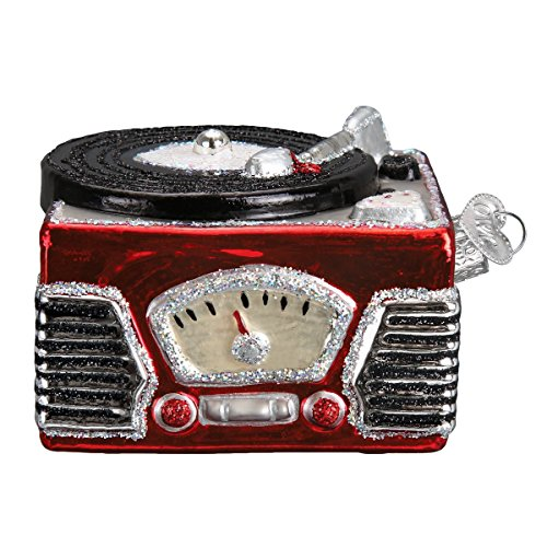Old World Christmas Glass Blown Ornament Record Player (38043)