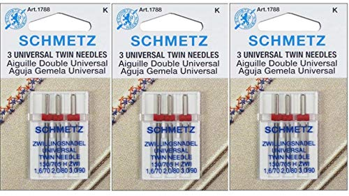 Schmetz Naalden voor naaimachine - Twin - Diverse Mixed Packet, Maten 1.6/70, 2.0/80 & 3.0/90 - KOOP 2, GET 3e PACKET GRATIS!