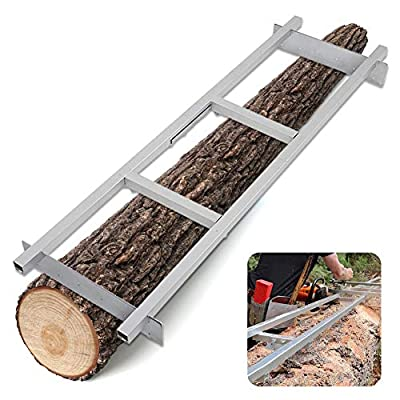 HN VUE Upgrade 9 FT Rail Mill Guide System, 3 Crossbar Kits Chainsaw Mill Rail Guide with Chainsaw Sharpening Vise & Work Gloves Used in Combination with Saw Mill (9-FT Rail Mill System)