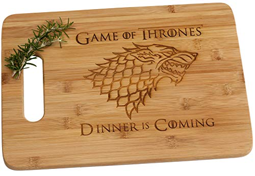 Game of Thrones Dinner is Coming Laser Engraved Bamboo Wood Cutting Board with Handle Funny Gift House Stark