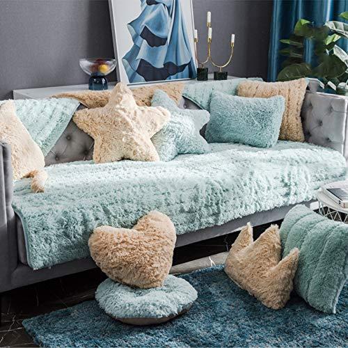 Grueso Terciopelo Protector De Muebles Salon Fundas para Sofa para Perros Niños Mascotas,Felpa Funda Sofa Ajustables para 3 Plazas-Azul 110x110cm(43x43inch) 1pcs