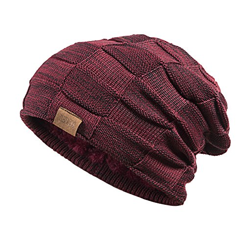 REDESS Beanie Hat for Men and Women Winter Warm Hats Knit Slouchy Thick Skull Cap(Wine Red)