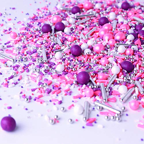 Electric Love| Hot Pink Purple White Ladies Valentines Day Princess Colorful Candy Sprinkles Mix For Baking Edible Cake Decoration Cupcake Topper Cookie Decorating Ice Cream Topping, 2OZ(Sample Size)