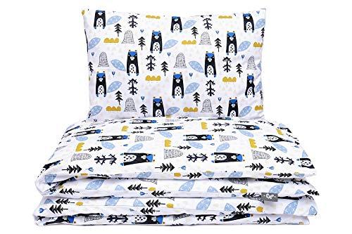 Kinderbettwäsche Set Baby Bettwäsche Bettbezug 100 x 135, fur Baby und Kinder, aus Baumwolle (Blaue Bären)