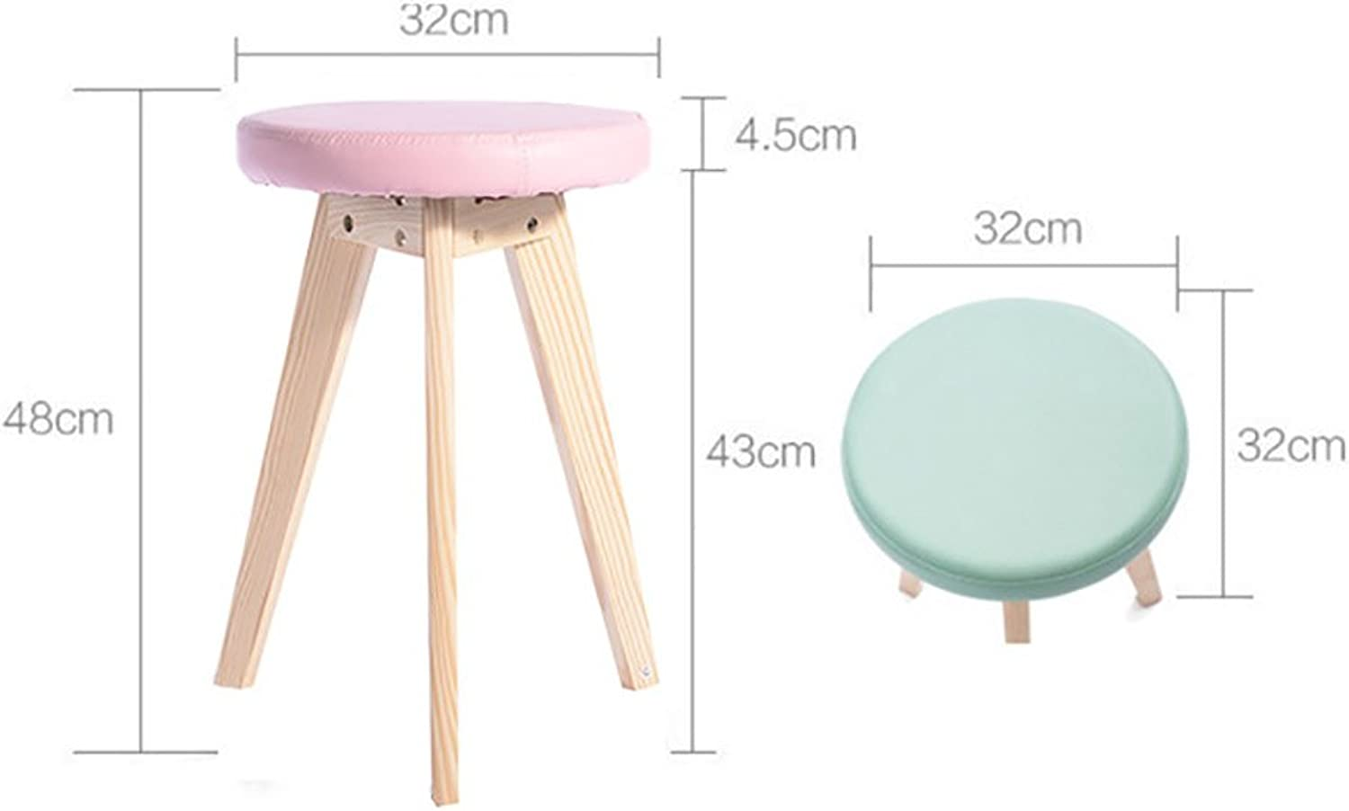 European Chair Solid Wood Stool, Dining Stool Leisure Chair Home Creative Leisure Dressing Stool Small Stool