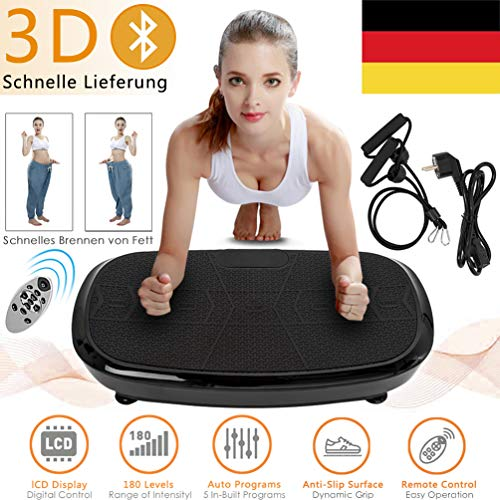 Profi Vibrationsplatte mit 3D Vibration Heimtrainer Massage Power Platte 150kg 3D Wipp Vibrationsgeräte Fitness mit Bluetooth Music Flat,Garantie(Deutsche Ortszustellung)