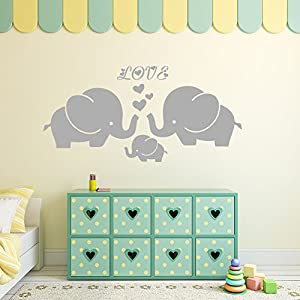 """Large Cute Elephant Family with Hearts Wall Decals Baby Nursery Decor Kids Room Wall Stickers, (Large)40""""W x19""""H, Grey"""