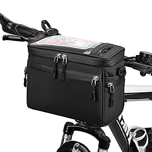 Lixada Fahrrad Lenkertasche, Fronttasche MTB Rahmentaschen mit Transparentem PVC-Sichtfenster, Umhängetasche Tragetasche, 22 x 18 x 12 cm, Schwarz