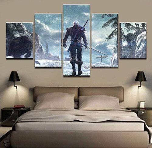 wodclockyui 5 Piezas Cuadro de Lienzo- The Witcher 3 Geralt Game 5 Impresiones de imágenes Decoración de Pared para el hogar Pinturas y Carteles de Arte HD 200cmx100cm sin Marco
