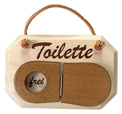 Kaltner Präsente Holz Schild Türschild aus massivem Ahorn für das WC Schriftzug Toilette mit Clodeckel zum umklappen