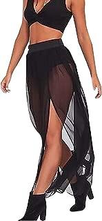 Women Elastic Waist Mesh Long Side Slit Maxi Skirts