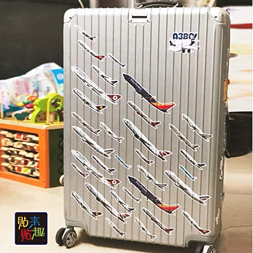 ZXXC Aviation Airplane Model Stickers Airline Suitcase Trolley Suitcase Stickers Tide Brand Luggage Stickers Waterproof 33 Sheets