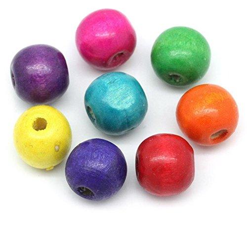SiAura Material 200 Stück Holzperlen 13x14mm mit 4,5mm Loch, Rund, Mix Bunt zum Basteln und Fädeln