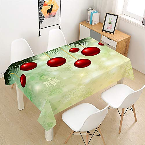 Morbuy Table Clothes Christmas, Festive Style 3D Print Tablecloth Rectangular Waterproof Table Cover Wipe Clean for Home Kitchen Garden Kids Party Decorations (Red Ball,100x140cm)