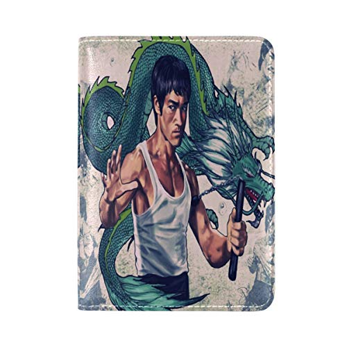 Bruce Lee And Dragon Leather Travel Passport Holder Cover Case Card Wallet Elastic Band