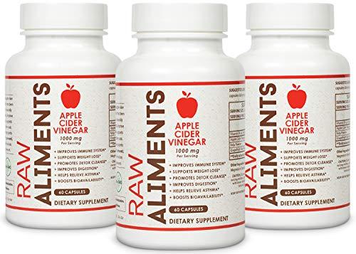 Raw Aliments Apple Cider Vinegar Pills for Detox & Cleanse Supplement 1000mg 180 Veggie Capsules w/Vitamin B6, Kelp & Grapefruit Powder, 90 Day Supply